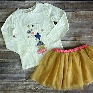 Gymboree Girls Fairy Top & Gold Tutu Skirt Bundle